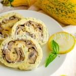 Кабачковый рулет с грибами и сыром