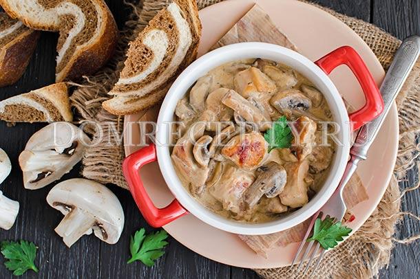 Курица с шампиньонами в сливочном соусе