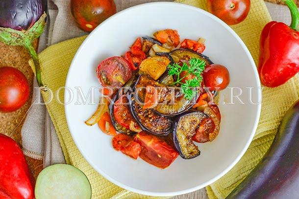 Соте из баклажанов с перцем и помидорами