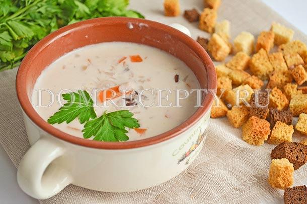 Суп с рисом и сыром