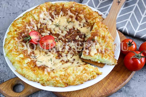 Запеканка из кабачков, приготовленная на сковороде