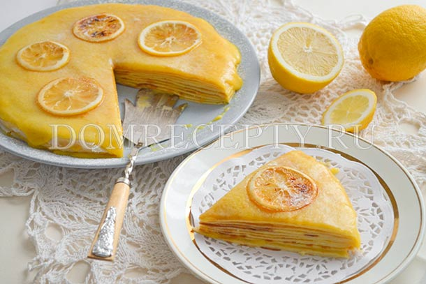 Торт из блинов с лимонным курдом