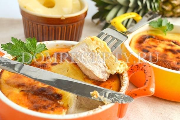 Курица, запеченная с ананасами