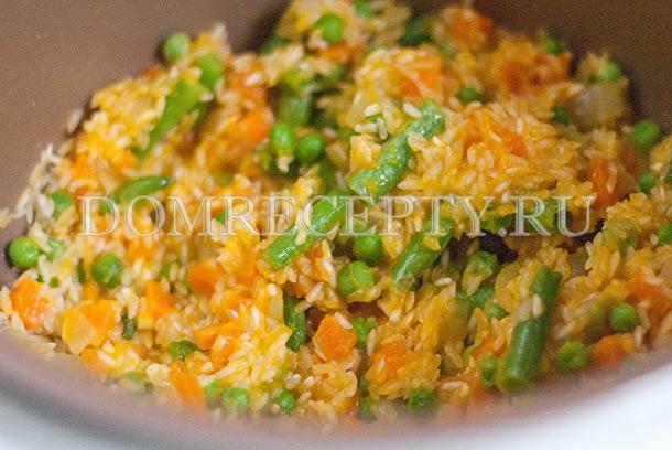 Прогреваем овощи с рисом