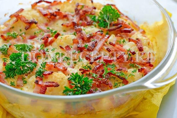 Запеканка из цветной капусты, приготовленная в духовке