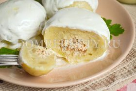 Чешские картофельные кнедлики с курицей