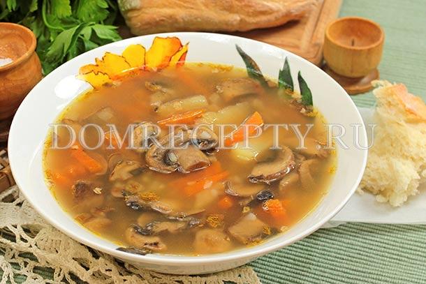 Грибной суп с гречкой и шампиньонами