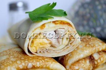 Как приготовить блинчики с начинкой из курицы и сыра