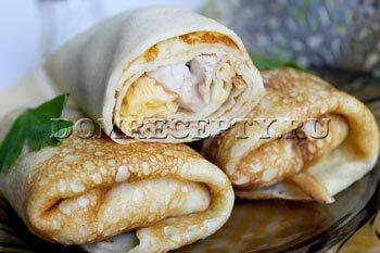 Рецепт приготовления блинчиков с начинкой из курицы и сыра