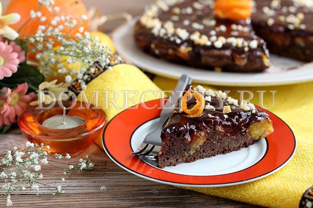 Шоколадная шарлотка с апельсинами