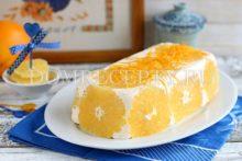 Творожный торт с апельсинами без выпечки