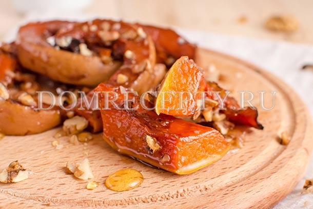 Тыква, запеченная с медом и орехами